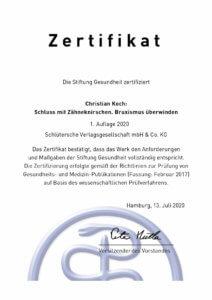Zertifikat der Stiftung Gesundheit für das Buch Christian Koch Schluss mit Zähneknirschen