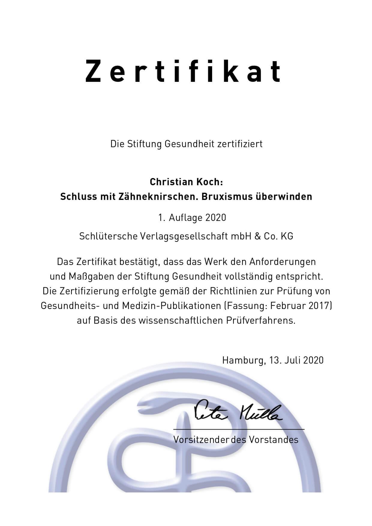 """Stiftung Gesundheit zertifiziert """"Schluss mit Zähneknirschen"""""""